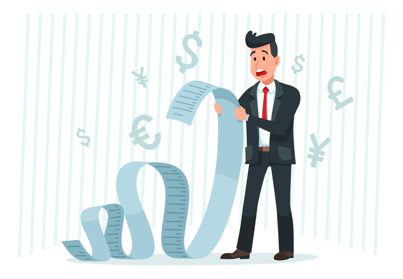 Ilustracija čoveka koji drži račun koji je mnogo dug